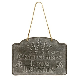 Christmas Tree Farms Holiday Sign Wall Decor Embossed Tin 8 Inches