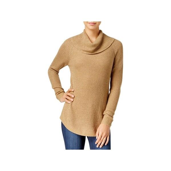 BCX Womens Sweater Cowlneck Metallic