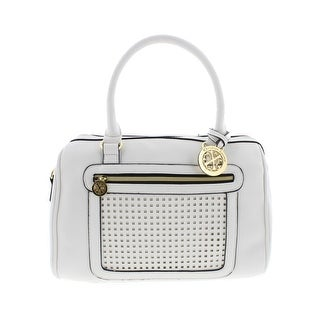 Christian Lacroix Womens Giselle Speedy Satchel Handbag Faux Leather Perforated - LARGE