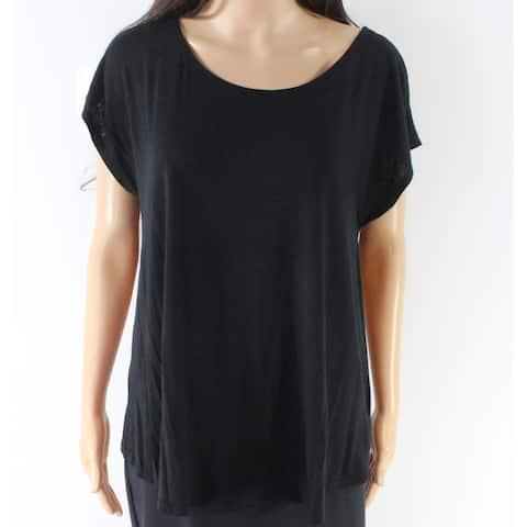 Bobeau Black Women's Size Large L Scoop Neck Tie Back Blouse