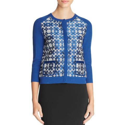 Finity Womens Cardigan Sweater Studded Printed