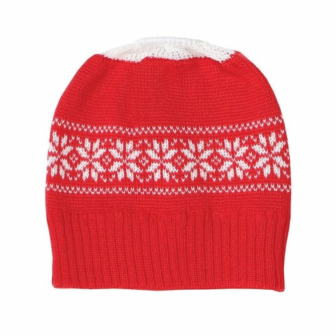 Women's Red Knit Winter Hat With Ponytail Hole