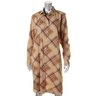 Lauren Ralph Lauren Womens Shirtdress Plaid Crepe