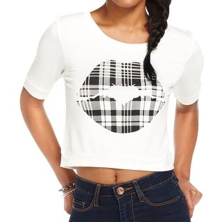 Eric & Lani Womens Juniors Crop Top Graphic Jewel Neck