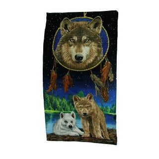 Colorful Forest Wolf Dreamcatcher Oversized Cotton Beach Towel - Multicolored