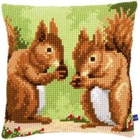 "16""X16"" - Nibbling Squirrels Cushion Cross Stitch Kit"