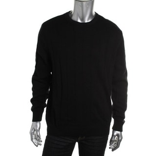 John Ashford Mens Long Sleeves Shadow Stripe Crewneck Sweater - L