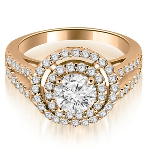 1.15 cttw. 14K Rose Gold Double Halo Round Cut Diamond Engagement Ring