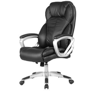 Costway PU Leather Executive Office Chair High Back Ergonomic Computer Desk Task Black
