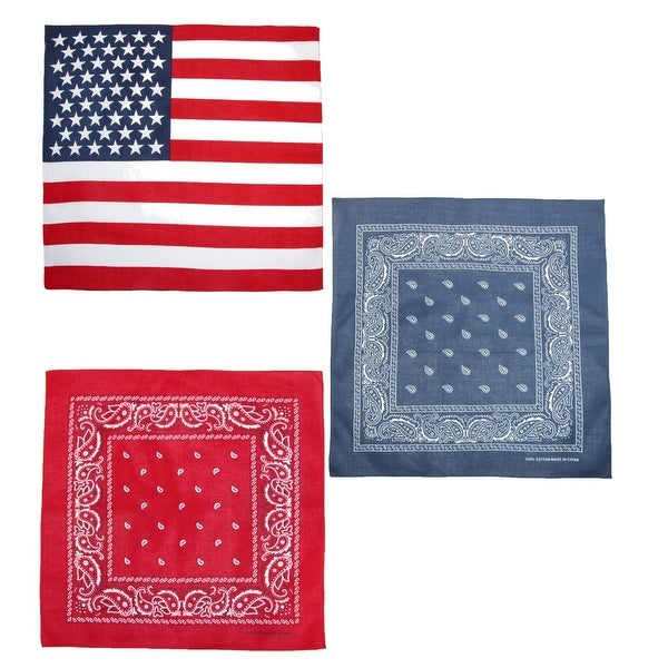 CTM® American Flag and Paisley Bandana Kit (Pack of 3) - One size