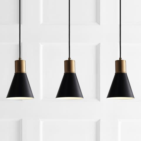 "Apollo 33.5"" 3-Light Modern Metal LED Cluster Pendant, Black by JONATHAN Y"