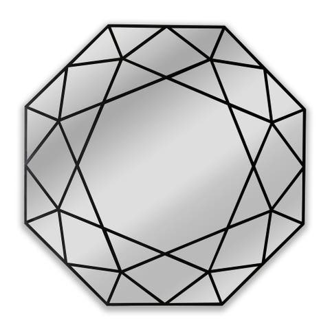 Black Framed Wall Mounted Octagonal Accent Mirror
