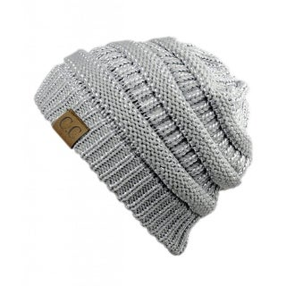Gravity Threads CC Knit Soft Stretch Beanie Cap, Silver