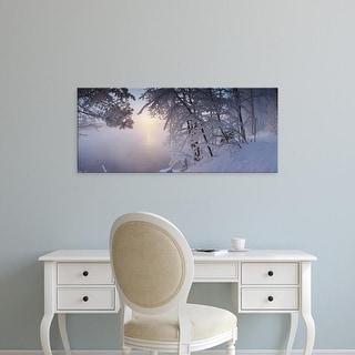 Easy Art Prints Panoramic Image 'Panoramic view of a river in winter, Vuoksi River, Imatra, Finland' Premium Canvas Art