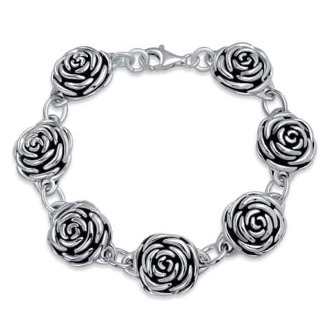 Black Antiqued Roses Flowers Bracelet 925 Sterling Silver 7.5 Inch