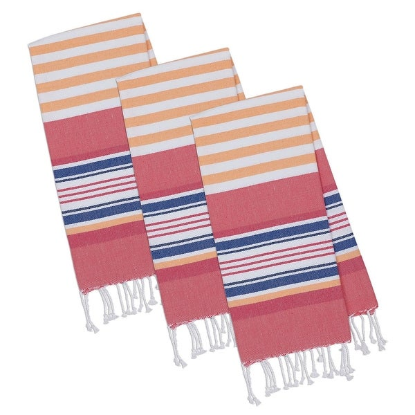 "Set of 3 White and Beachy Orange Stripes Fouta Rectangular Towels with Fringe 20"" x 30"""