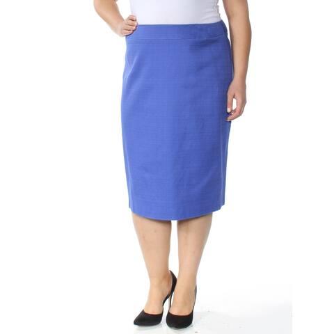 TAHARI Womens Blue Below The Knee Shift Wear to Work Skirt Size 14W