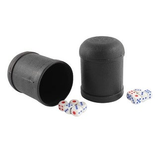 Game Dice Roller Cup Black 2 Pcs each w 5 Dices