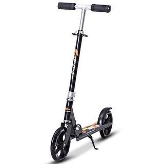 Goplus Foldable Aluminum Adults Kids Kick Scooter Height Adjustable w Kickstand Black