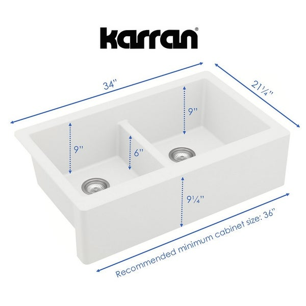 Karran All in One Apron Front Quartz 34 in. Double Bowl 50/50 Kitchen Sink in White with Faucet KKF220 in Stainless Steel