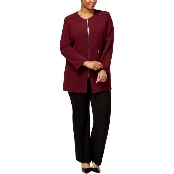 Tahari ASL Womens Plus Topper Jacket Long Sleeves U-Neck