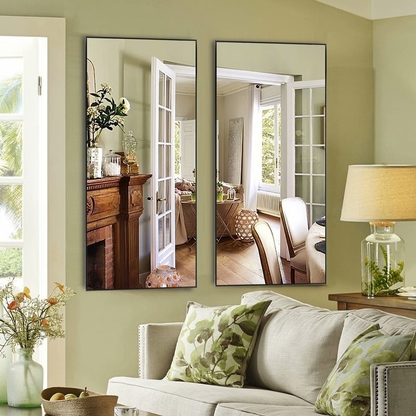 Aluminum Alloy Right Angle Full Length Mirror Hanging or Leaning or Standing. Opens flyout.