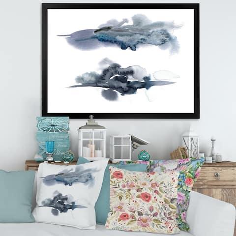Designart 'Abstract of Dark Blue Clouds II' Modern Framed Art Print