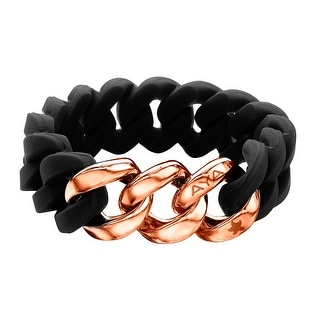 Silix by Aya Black Silicon Bracelet with 18K Rose Gold-Plated Stainless Steel - Pink