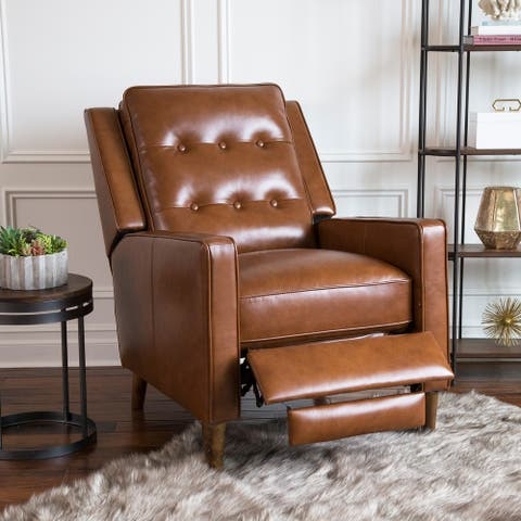 Abbyson Holloway Mid-century Top Grain Leather Pushback Recliner