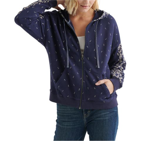 Lucky Brand Womens Floral Hoodie Sweatshirt, Blue, Small
