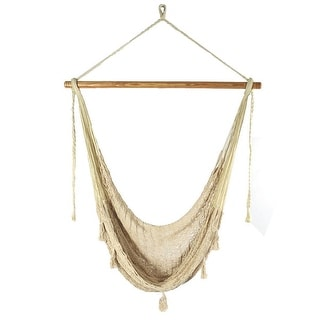 Sunnydaze Natural Color Large Hanging Mayan Mexican Rope Hammock Swing Chair