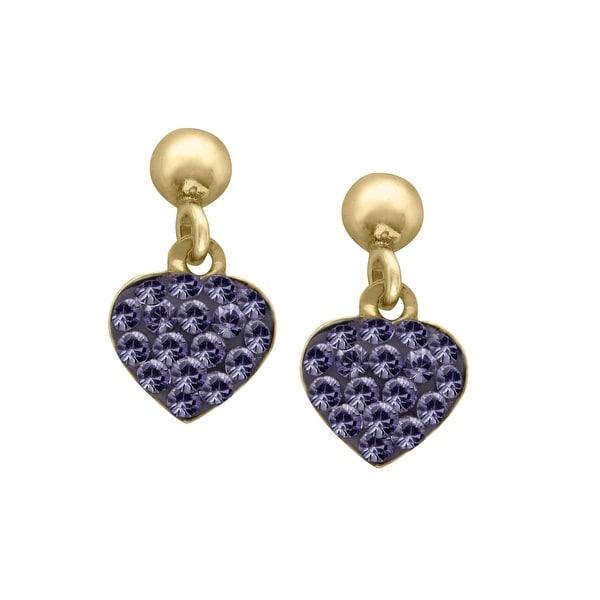 Crystaluxe Heart Earrings with Purple Swarovski elements Crystals in 14K Gold-Plated Sterling Silver