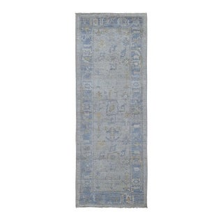 """Shahbanu Rugs Ivory Oushak with Soft Velvety Wool Hand Knotted Runner Oriental Rug (2'10"""" x 8'0"""") - 2'10"""" x 8'0"""""""
