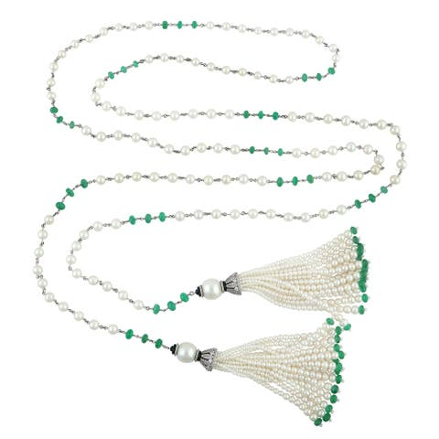18kt Gold Diamond Emerald Onyx Pearl Lariat Tassel Necklace With Jewelry Box