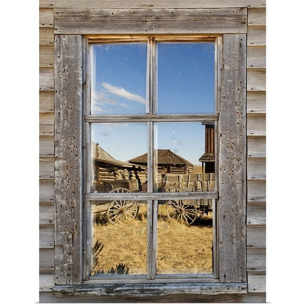 """""""Reflection in window of old western town"""" Poster Print"""