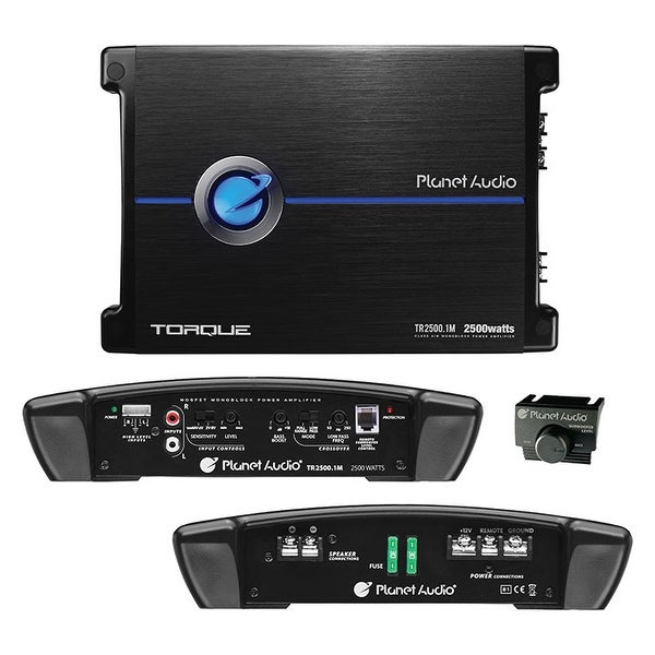 Planet Audio TR2500.1M Torque 2500 Watt, 2 Ohm Stable Monoblock Car Amplifier with Remote Subwoofer Control
