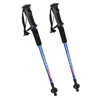 2PCS Trekking Hiking Stick Pole Anti Shock Adjustable Telescoping 6061Aluminum Blue