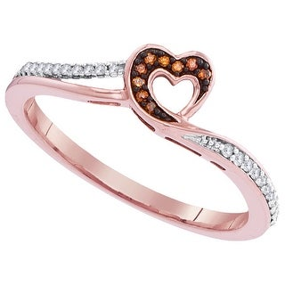 1/10Ctw Diamond Micro-Pave Heart Ring Rose-Gold 10K