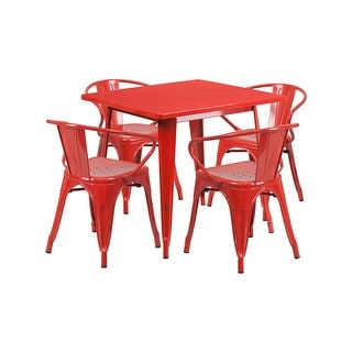 "Offex 31.5"" Square Red Metal Indoor Table Set with 4 Arm Chairs [OF-ET-CT002-4-70-RED-GG]"