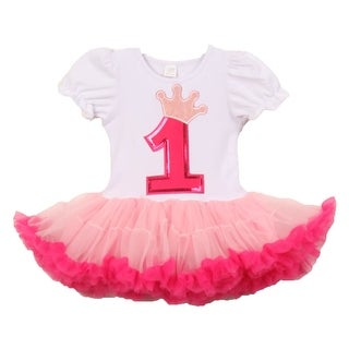 Baby Girls White Pink Number Crown Applique Birthday Tutu Dress 1-2 Years