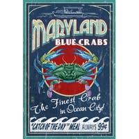 Ocean City MD Blue Crabs Vintage Sign - LP Artwork (Art Print - Multiple Sizes)