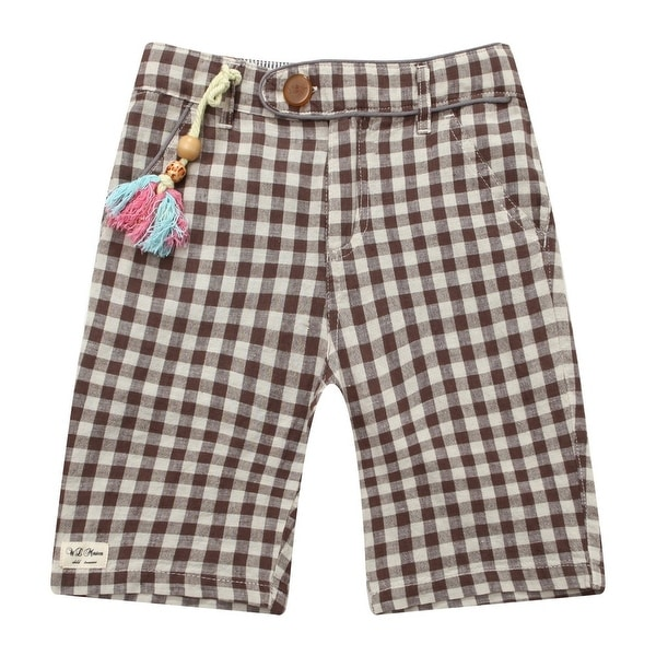 Richie House Baby Boys Coffee Grey White Checkered Short Pants 24M