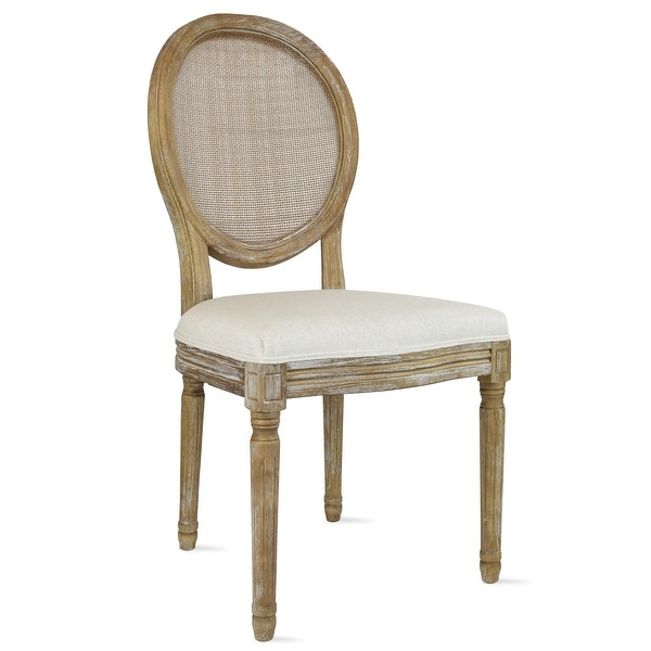 Fabric Linen Vintage Dining Chair With Oval Back For Kitchen Solid Wood. Opens flyout.