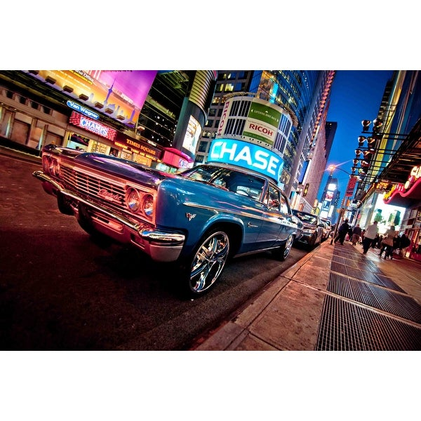"LED Lighted NYC Times Square with Classic Chevrolet Car Canvas Wall Art 15.75"" x 23.5"""