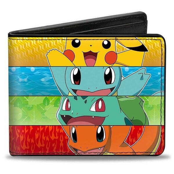 Pikachu & Kanto Starter Pokmon + Pokmon Type Stripe Bi Fold Wallet - One Size Fits most