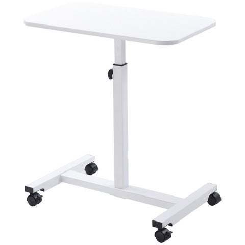 Gymax Adjustable Height Rolling Mobile Laptop Desk Cart Stand Desk Sofa Tray - White