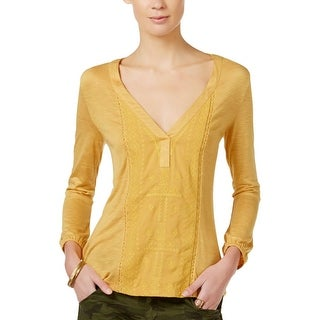 Sanctuary Womens Pullover Top Slub Embroidered