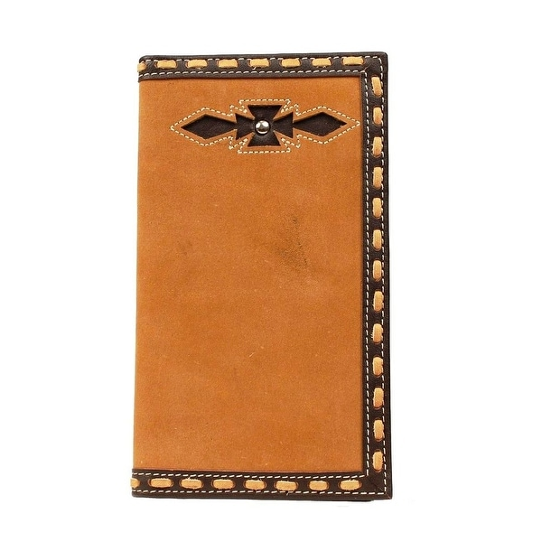 Ariat Western Wallet Mens Rodeo Checkbook Inlay Medium Brown - One size
