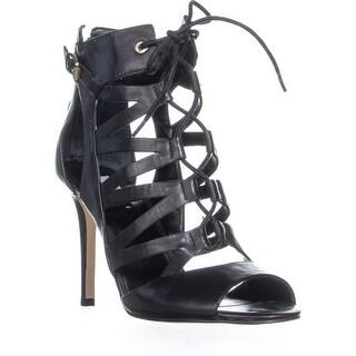 GUESS Larkee Cutout Lace Up Sandals, Black Leather - 10 us