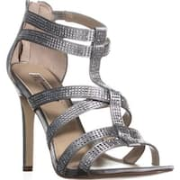 I35 Renata Studded Strappy Evening Sandals, Summer Silver